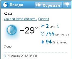 Гисметео. Прогноз погоды в Охе