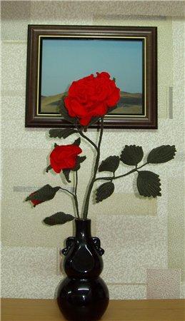 вязаная роза
