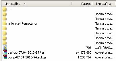 Бэкап файлов и базы данных