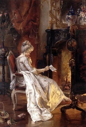 Немецкий художник Carl Herpfer. Любовное письмо. Женщина у камина