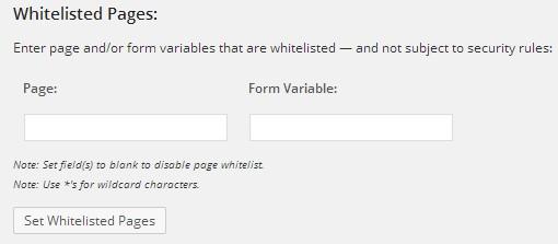 WordPress Firewall 2, к каким страницам доступ не блокировать