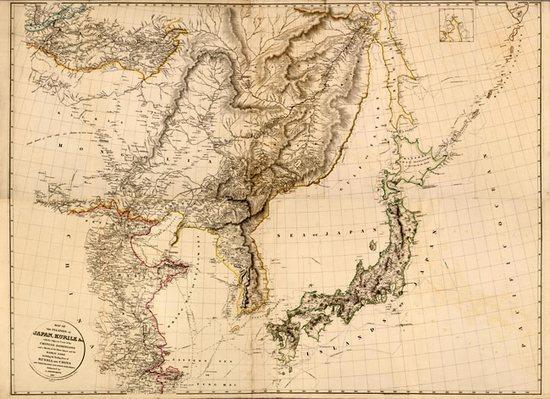 старая карта Японии и Сахалина