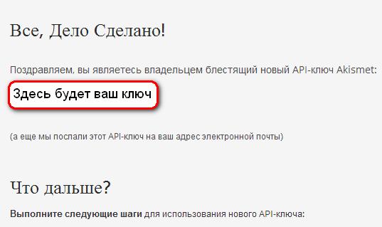 API-ключ Akismet, ваш ключ, скопируйте его