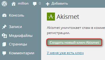 API-ключ Akismet, создано новый ключ