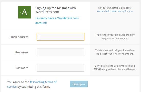 API-ключ Akismet, регистрация пользователя