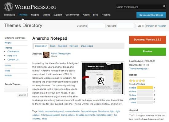 сайт разработчика темы Anarcho Notepad