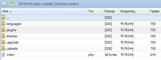 CMS WordPress, папка wp-content