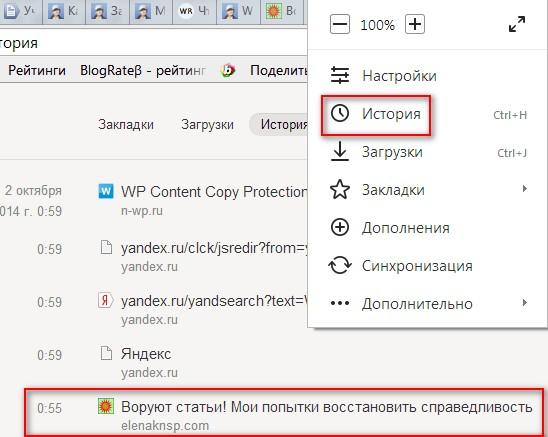Настройки браузера Yandex. История