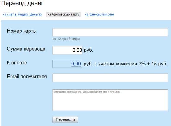 комиссионные Яндекса
